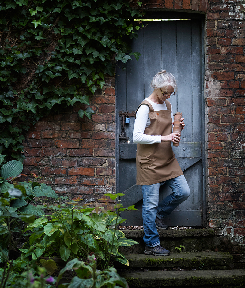 Grace Khaki Twill Pinafore Apron © creeperandknotweed.co.uk