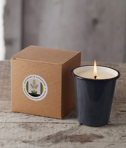 Rosemary & Lavender Garden Candle shown alight