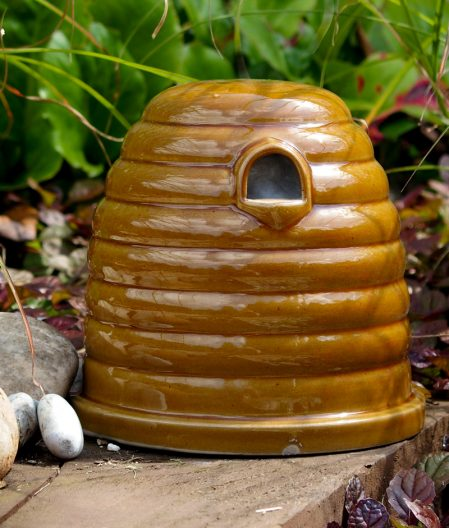 Ceramic Bee Nester, wildlife habitat in the shape of a traditional bee skep.