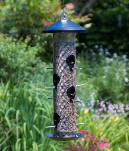 our giant wild bird seed feeder from our wildlife garden gifts range shown here hanging in the garden with seeds