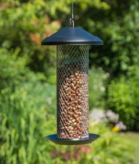 A hanging peanut bird feeder from our wildlife garden gifts range shown here in the garden